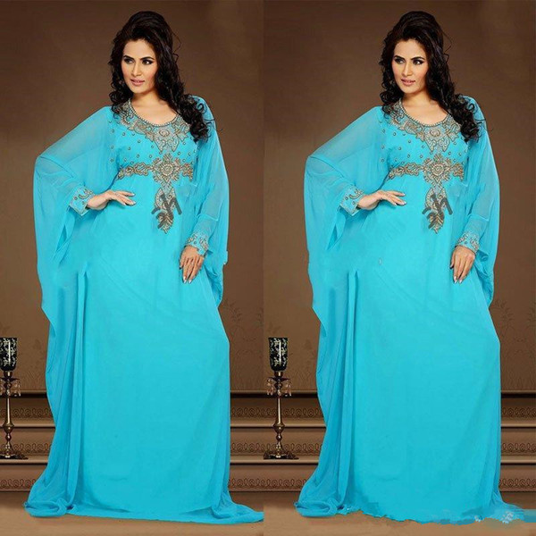 Jade blue Evening Gowns Chiffon Kaftan Dubai Arabian Dress Beading Long Sleeves Fitted Muslim Mother of the Bride Dresses Plus Size