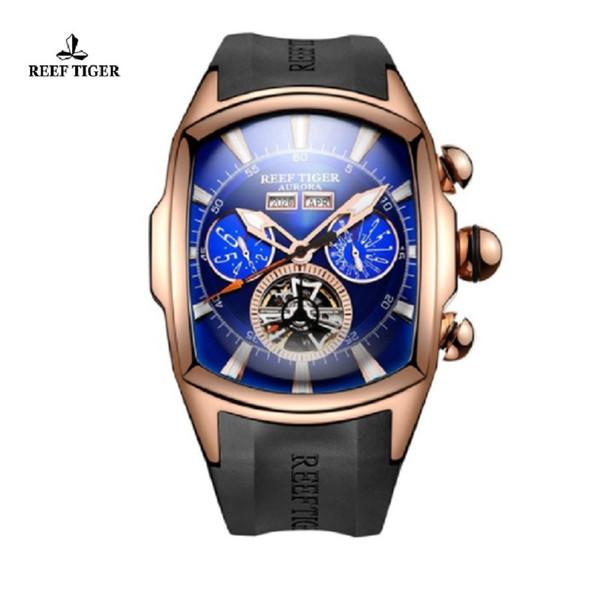 Reef Tiger/RT Big Dial Sport Watch for Men Luminous Analog Display Watches Rose Gold Blue Dial Wrist Watches RGA3069