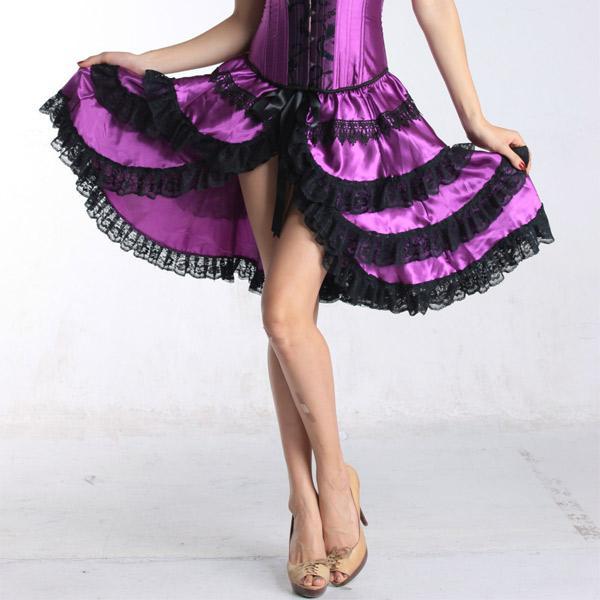 Bustle Corset Skirt Steampunk Cosplay High Low Sexy Lingerie Purple Dance Corzzet Skirt Dress Satin Evening Party Skirts Free Shipping 7006