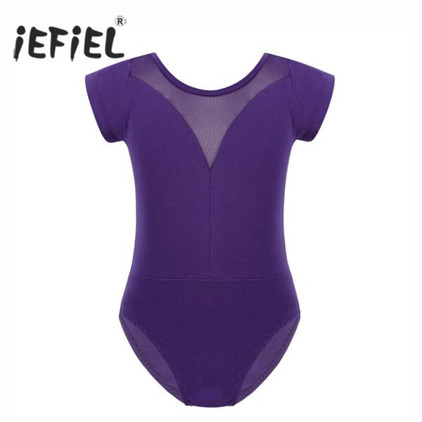 iEFiEL Girls Tutu Dancewear O-Neck Mesh Splice See-through V Back Ballet Dance Gymnastics for Kids Leotard Jumpsuit Bodysuit