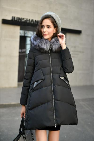 Winter Damen Lange Daunenjacke Mantel//Jacke Echte Waschbär Pelz Kragen Kapuze