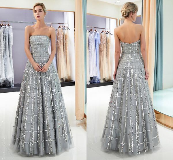 Zarif Real Resimleri Gümüş Gri Gelinlik Modelleri Sequins Tül Straplez Kadınlar Uzun Akşam Elbise Quinceanera Mezuniyet Parti Balo CPS1162