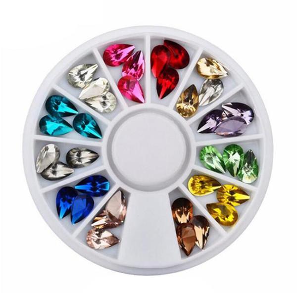 12 cores nail art decorações gota de água strass DIY enfeites de unhas para telefones móveis espelhos roupas chapéus sacos