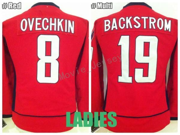 Kadınlar Alex Ovechkin Jersey 8 Alexander Ovechkin Kadın 19 Nicklas Backstrom Jersey bayan Buz Hokeyi Takımı Renk Kırmızı En Kaliteli