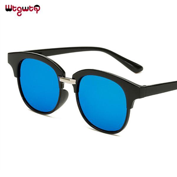 WtgwtQ Cat Eye Sunglasses Mirror Coating Women Reflective Flat Vintage Brand designer Unisex Female Men Sunglasses UV400 Eyewear