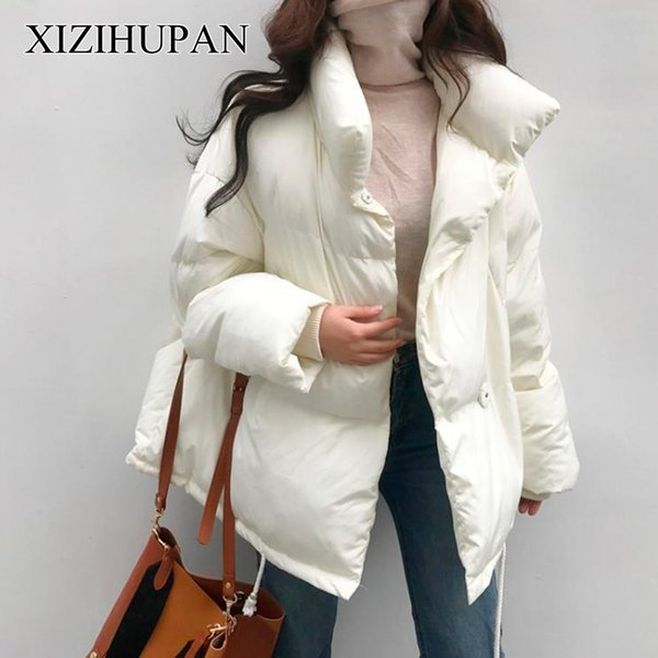 c8e74cbfae0 XIZIHUPAN Coat Female Long Sleeve Stand Collar Loose Big Size Winter Down  Jacket For Women Solid