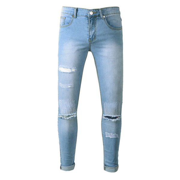 Fashion Mens foreign trade blue jeans pants motorcycle biker men washing to do the old fold Hip Hop Trousers Casual Runway Denim