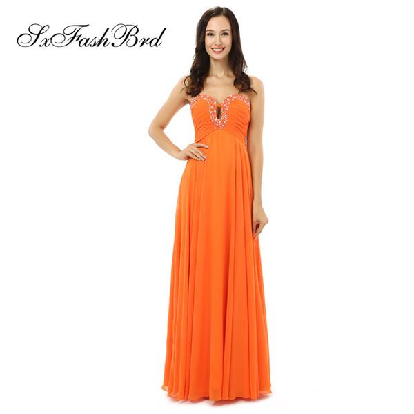Compre Vestidos Largos Para Damas Vestidos Elegantes Con Cristales Una Línea De Gasa Naranja Fiesta Larga Vestidos De Noche Formales Vestido De Fiesta