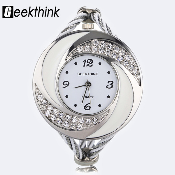 Mode Strass Diamant Wirbelwind Design Stahl Weave Kleid Armbanduhr Frau Mädchen Damen Armband Armreif Quarzuhr
