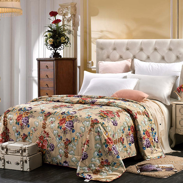 Comforter Quilt 100% Mulberry Silk Filled Natural Silk Duvet/Blanket Jacquard All Season Queen Floral Pink Beige