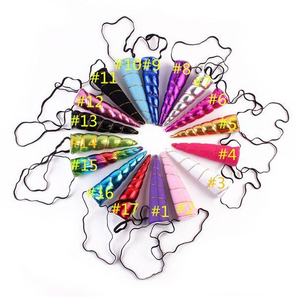 17 ألوان يونيكورن قرون هيرباند الاطفال الرضع الكرتون الفتيات اليدوية الشعر الديكور diy العصابة الطفل اكسسوارات للشعر هدايا عيد