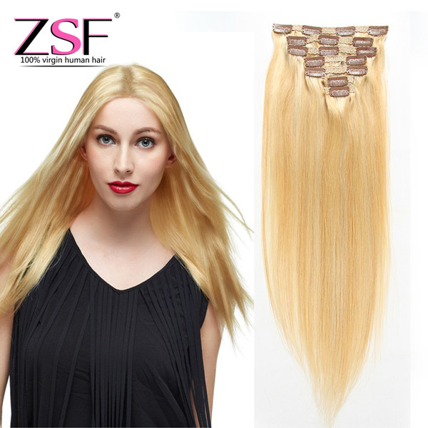 ZSF Best Price Unprocessed Brazilian Straight Hair Extensions Human Hair 80g 7pcs 27/613 Blond Clip in Human Hair