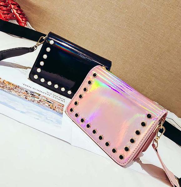 30pcs 2018 Fashion Women Laser Flap Flap Pocket Shoulder Bag With Rivet Black Silver Pink Hasp Phone Beach Cross body Bag