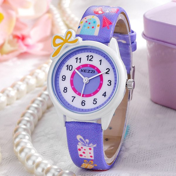 Crianças Relógios Crianças Moda Relógios De Quartzo Dos Desenhos Animados Pulseira De Couro Relógio De Pulso Das Meninas Dos Meninos À Prova D 'Água Relógios De Presente KEZZI Marca Top