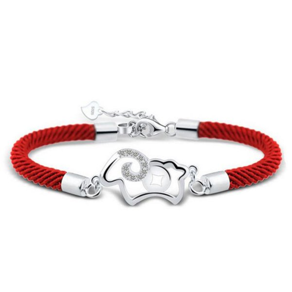 100% 925 sterling silver fashion red rope little sheep crystal bracelets for women birthday gift wholeslae cheap jewelry 5Y286