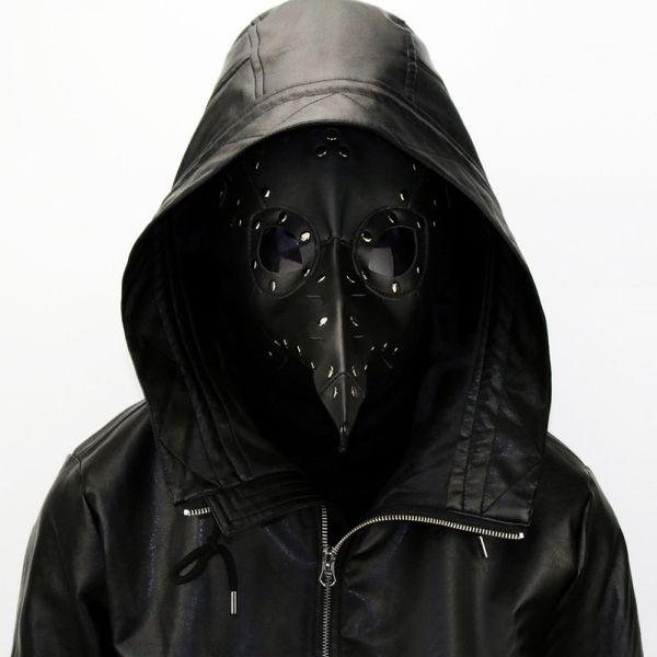 Black Plague Doctor Mask Birds Long Nose Beak PU Leather Steampunk Halloween Costume Props Free Shipping G221S