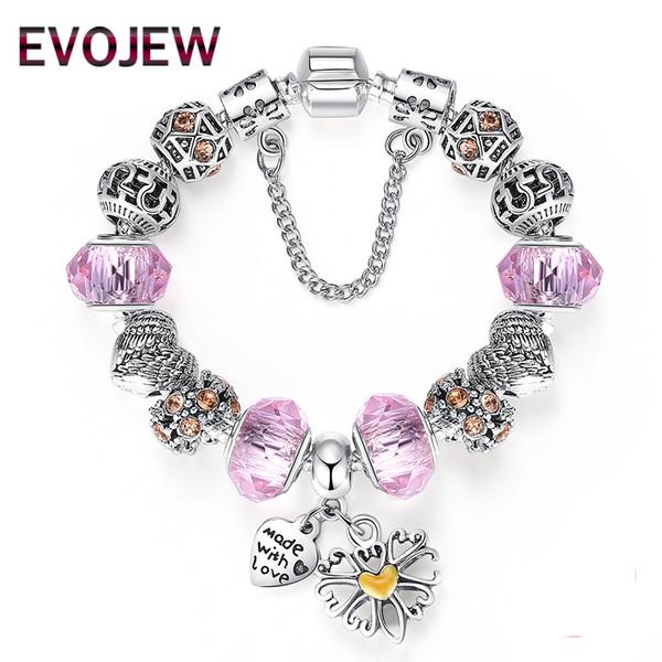 EVOJEW Lovely Pink Muarno Glass Charm Bracelet with Safety Chain 925 Silver Heart Charm Bracelet for Women Authentic Jewelry