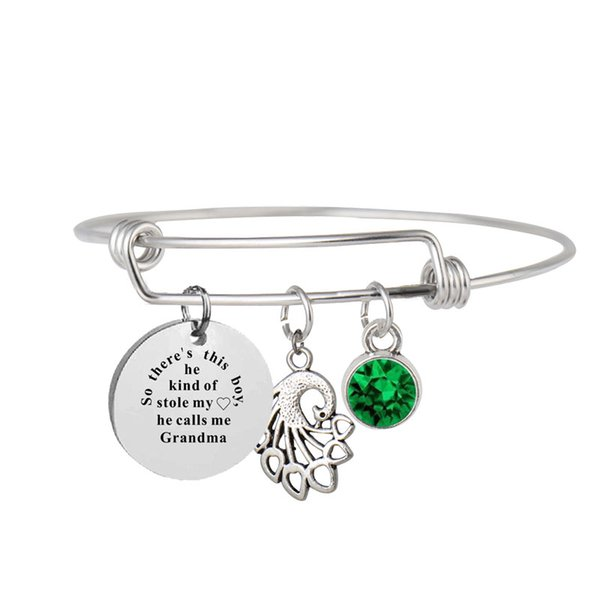 Personalized Inspirational Engraving charm Bangle Bracelet Family Members Gift Silver Wire Stainless Steel Personalize Birthstone Bracelet