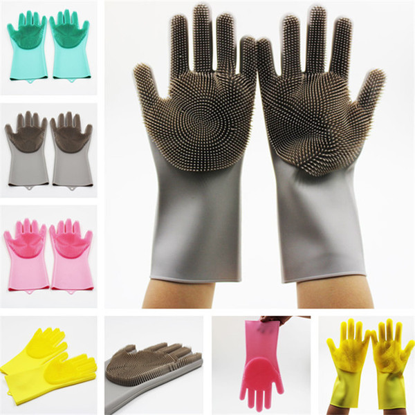 Silicone Magic Cleaning Glove Brush 10 Colors Scrubber Dusting Dish Washing Gloves Rubber Heat Resistant Wash Gloves 100pair T1I1064