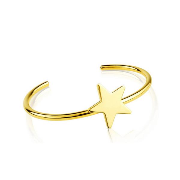 BB126 Star Bracelet Gold Cuff Bangle Stainless Steel Jewelry Women Gift Fashion Accessory bear jewelry