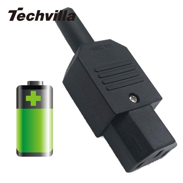 techvilla New Rewireable Heavy Duty For IEC C13 Female Connector Inline Socket Power Cable Adapter Cord Plug 250V 10A 1500KW ABS