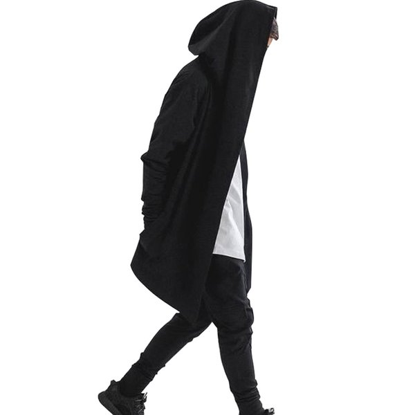 2017 Mens Hip Hop Hoodies Sweatshirts Men Black Mantle Cloak Hooded Gown Jacket Long Sleeve Coat Streetwear Hoodie Plus Size 3XL