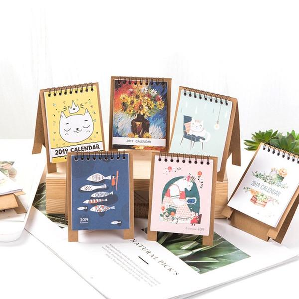 2019 Pcs/set Creative Cute Desktop Calendar Notepad Reminder Kawaii Stationery School Lunar Cute DIY Calendar Planner
