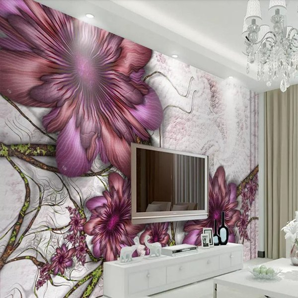 3d European retro wallpaper Hand painted flower murals Bedroom living room sofa wall covering TV background wall Nothing cloth wallpaper
