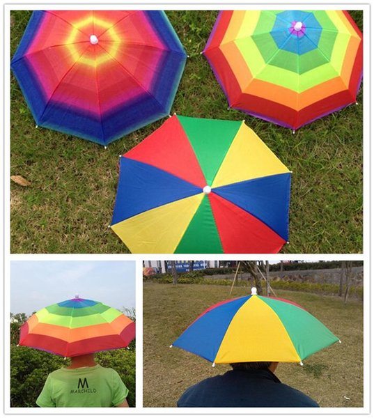 562a9d287f42f 3Colors Foldable Sun Rainbow Umbrella Hat For Adult Children Adjustable  Headband Hat Umbrella Hiking Fishing Outdoor