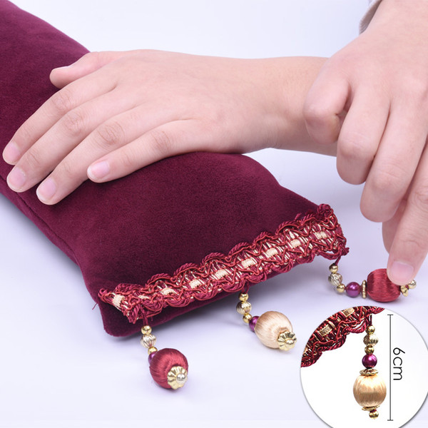New Soft Cotton Hand Rest Salon Nail Art Pillow Cushion Tassels Beauty Styles Manicure Care Holder Tools Pink/Wine Red