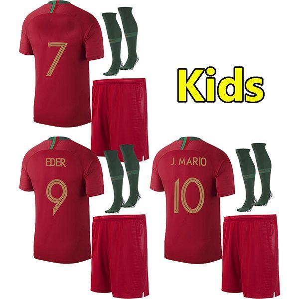 2018 Kids soccer jersey world cup ANDRE SILVA children football shirt J MOUTINHO Camisa de futebol QUARESMA baby maillot