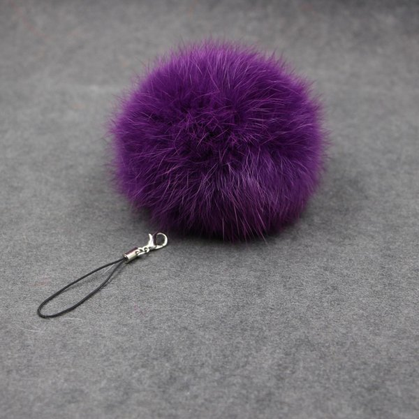 30Colors 8cm Fluffy Lovely Genuine Rabbit Fur Ball Plush Key Chain for Car Cell Phone Key Ring Bag Pendant Keychain 1000pcs