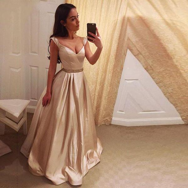 Compre Impresionante Champagne Vestido De Bola Dorado Vestidos De Baile De Hombro Rebordear Sash Satin Floor Length Vestidos De Noche Sin Espalda