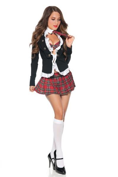 New Fantasy Adult Naughty School Girl Costume 3S1092 Sexy 4 Piece Student Uniform Set Women Schoolgirl Halloween Costumes