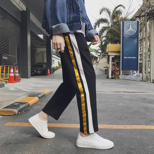 Neu kommen 2018 Frühling Herbst Stil Streetwear Hip Hop Freizeit lange Breite Streifen Concise Man Straight-Bein Hosen Jugend