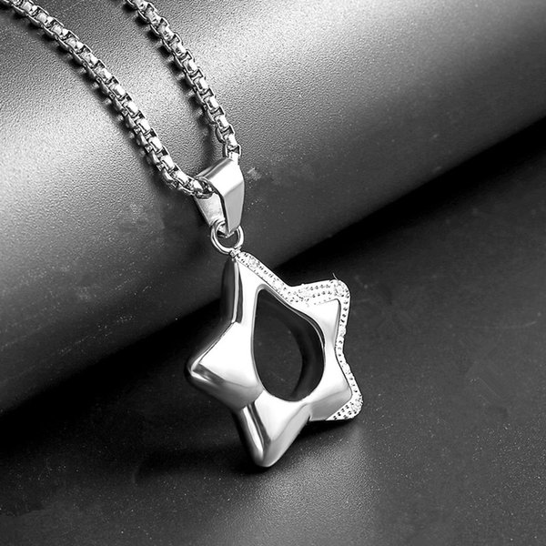 Men Charm Lucky Star Sign Simple Pendant Necklace Zircon Design Stainless Steel Jewelry Chain Punk Fashion Men Long Necklace For Men Gift