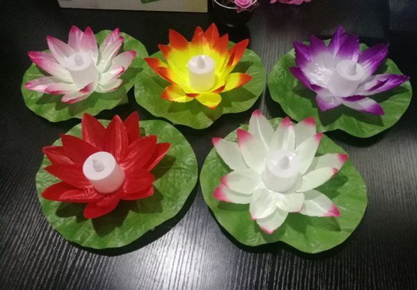 Artificial Lotus Flower LED Candles Colorful Light Changed Floating Water Flower Swimming Pool Wishing Light Lamps Lanterns Party Supply