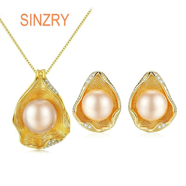 Sinzry 18KGP Shell style Pearl Jewelry Set 925 Sterling Silver popular Pendant Necklaces earring set For Women lady fine jewelry