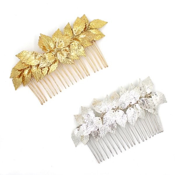 ashion Jewelry Jewelry SLBRIDAL Baroque Golden Wired Rhinestones Crystal Pearls Leaves Wedding Comb Bridal Hair comb Hair accessories B...