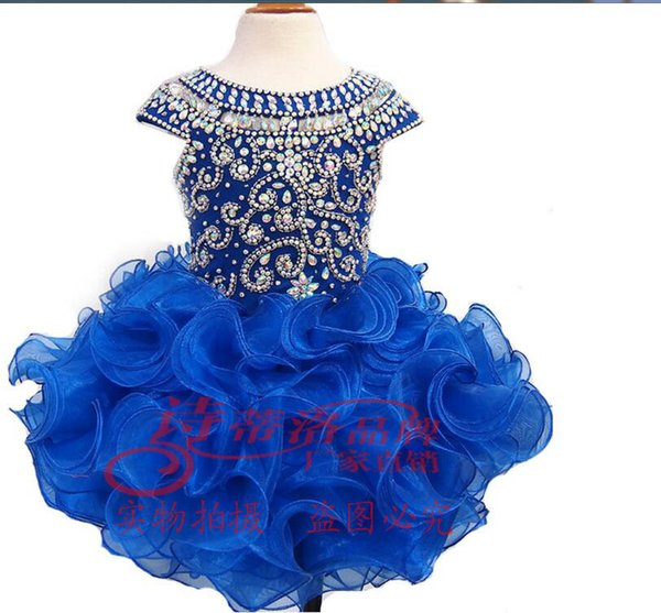Factory direct sale Sexy leaky Eugen gauze cake dress children's dress back button, heavy hand, wrapped shoulder collar, customized mail.