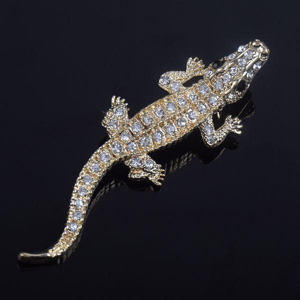 Crystal high grade animal crocodile Brooch wedding bride decoration crystal flower broccoli dress pin clothing