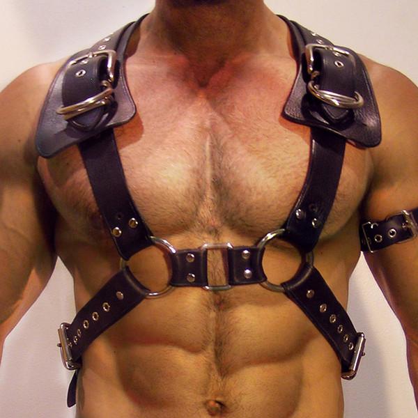 2018 New Cool Designer Belts Men Cinturón de alta calidad para almacenamiento de moda Cosplay Sexy Cuerpo de cuero Arnés Bdsm Fetish Adjsutable