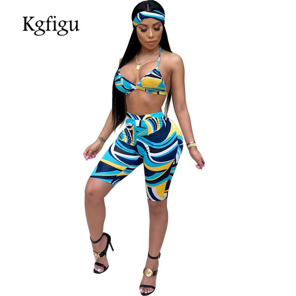 KGFIGU women's shorts to the knees 2018 summer print 2 piece outfits for women two piece set top and pants matching sets scarf