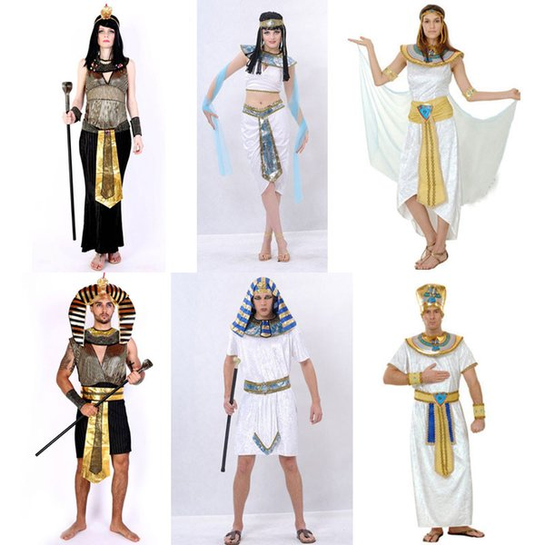 ostume cartoon Umorden Halloween Costumes Ancient Egypt Egyptian Pharaoh King Empress Cleopatra Queen Costume Cosplay Clothing for Men Wo...