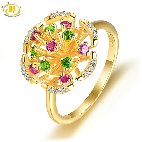 1f2dfa65d Hutang Natural Gemstone Yellow Gold Silver Flower Ring Solid 925 Sterling  Rhodolite Garnet Fine Fashion Stone