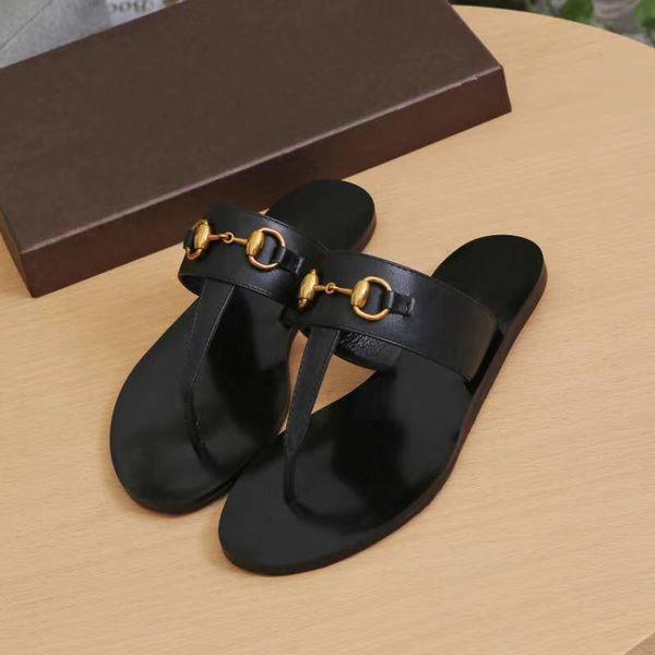 Diseñador de marca de verano para mujer Chancletas Zapatilla Moda de lujo Cuero genuino desliza sandalias Cadena de metal para mujer zapatos casuales EU36-EU42 w01