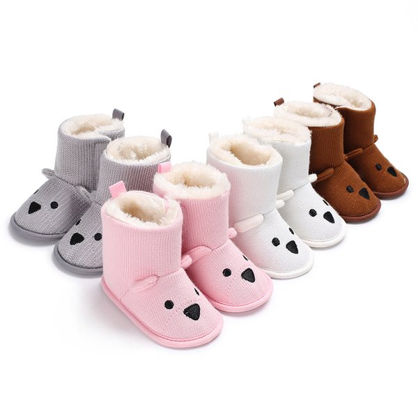 Toddler shoes winter baby boys girls woolen bear thickening snow boots 0-12 months baby shoes for 4 colors