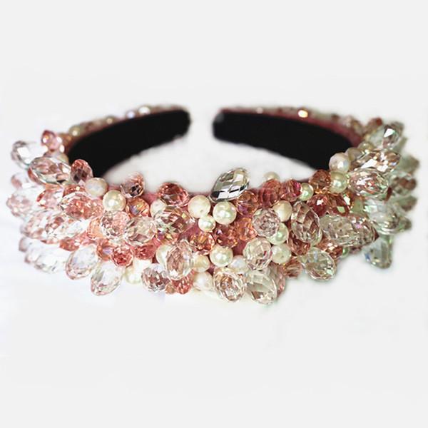Lujo Tiaras de la corona barroca cuentas de cristal brillante gota de agua bandas para el cabello diademas de la boda pelo de la joyería del partido accesorios para el cabello X912
