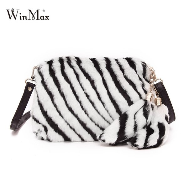 Winmax Korean Style Ladies Faux Fur Day Clutches Shoulder Crossbody Bag Women Fashion New Hand Phone Bag Flap Evening Party Bags