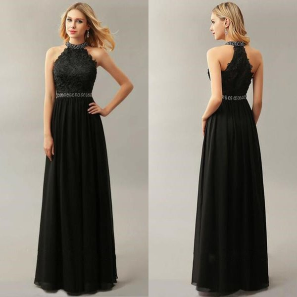 Elegant A Line Chiffon Top Lace High Neck Evening Formal Dresses 2018 Floor Length Sleeveless Beaded Formal Party Prom Dress